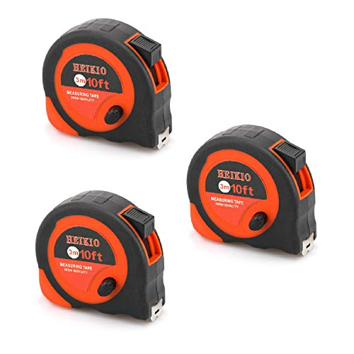 3 Pack Tape Measure 10FT/3M By HEIKIO, Metric and Inch Scale, Sturdy Mark for Easily Reading- Portable Measuring Tape H17005