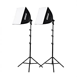 "Fovitec  StudioPRO - 2x 20""x20"" Softbox Studio Photography Lights w/ 1050 Watt Equivalent Total Output - [Automatic Pop-Up][Continuous][105 W Bulbs]"