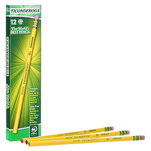 - Ticonderoga Pencils, Wood-Cased Graphite #4 2H Extra Hard, Yellow, 12-Pack (13884)