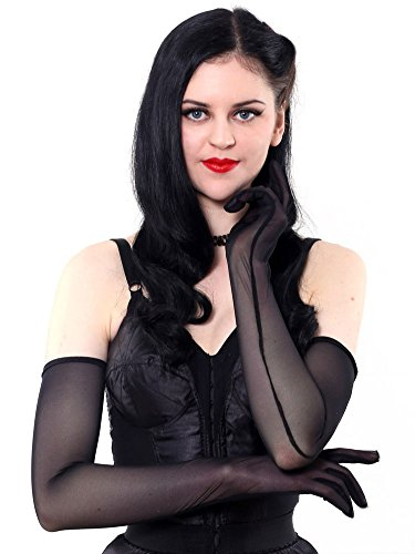 (What Katie Did Long Sheer Black Evening Gloves)