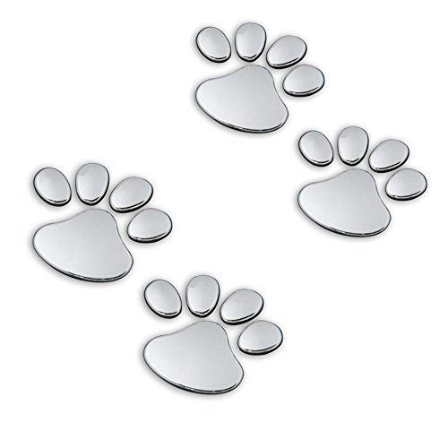 JUMUU 3D Chrome Dog Paw Footprint Sticker Decal Auto Car Emblem Decal Decoration Color Silver (4PCS)