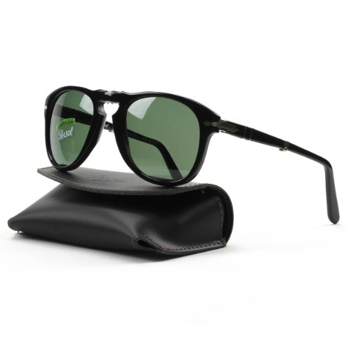 Persol Men's 0PO0714 95/58 52 Aviator Sunglasses,Black Frame/Green Lens - Celebrity Aviator Sunglasses