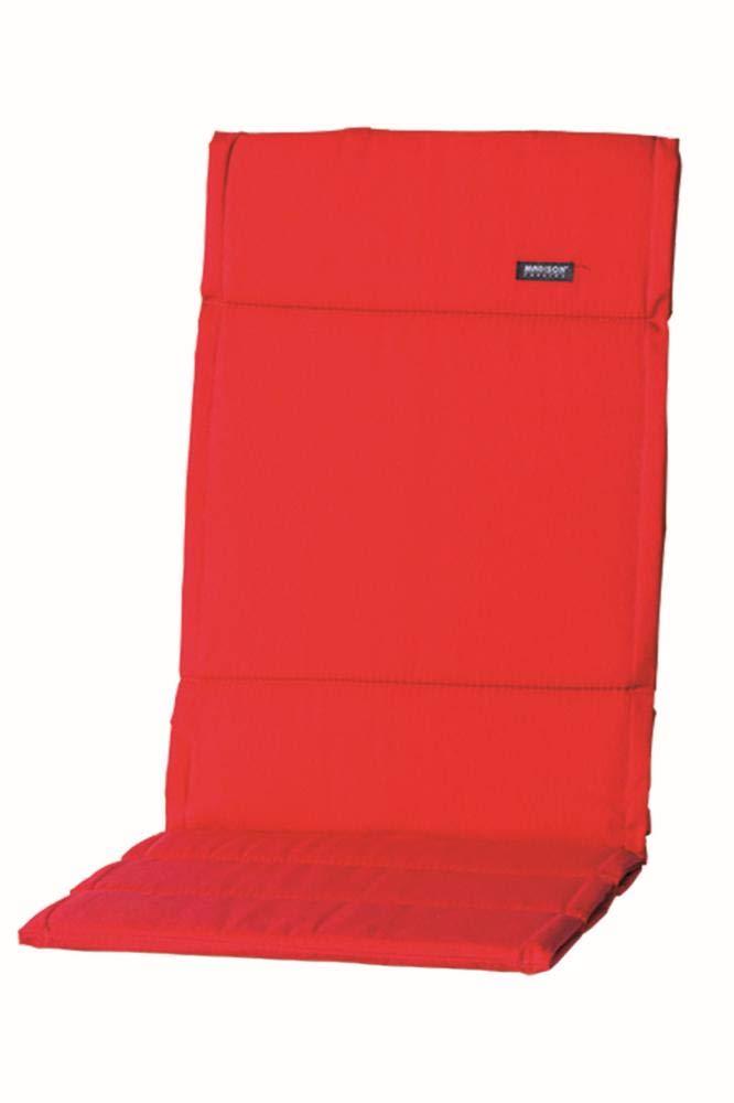 Madison 2 Stück Dessin Panama Auflage für Gartenstuhl Hochlehner, Gartensessel hoch, 75% Baumwolle, 25% Polyester, 123 x 50 x 4 cm, in rot