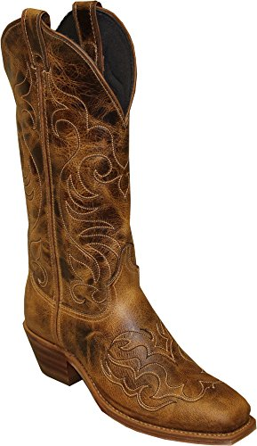 - Abilene Women's Cowhide with Fancy Stitching Western Boot Square Toe Tan 8 M