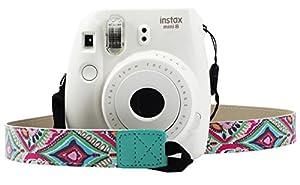 Katia Camera Accessories for Fujifilm Instax Mini 9 or Mini 8 Instant Film Camera- 8 in 1 Bundle. Fuji Case Ice Blue with Strap, Photo Album, Frame, Selfie Len, Filters, Stickes & more