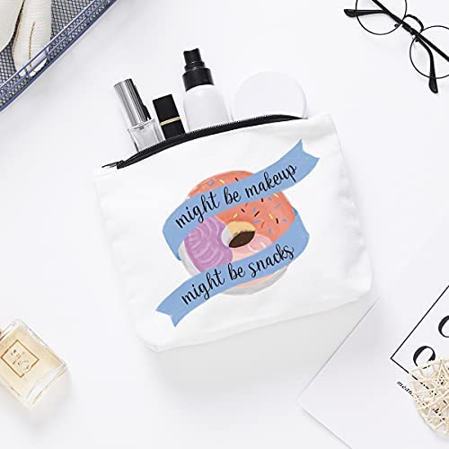 Funny Makeup Cosmetic Bag Zipper Pouch | Cute Might Be Makeup Might Be Snacks Cosmetic Travel Bag Toiletry Make-Up Case Multifunction Pouch Gifts for Women Girls Friend Mom Sister Teens
