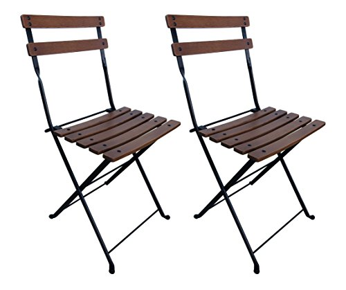 Mobel Designhaus French Café Bistro Folding Side Chair, Jet Black Frame, European Chestnut Wood Slats with Walnut Stain (Pack of 2)