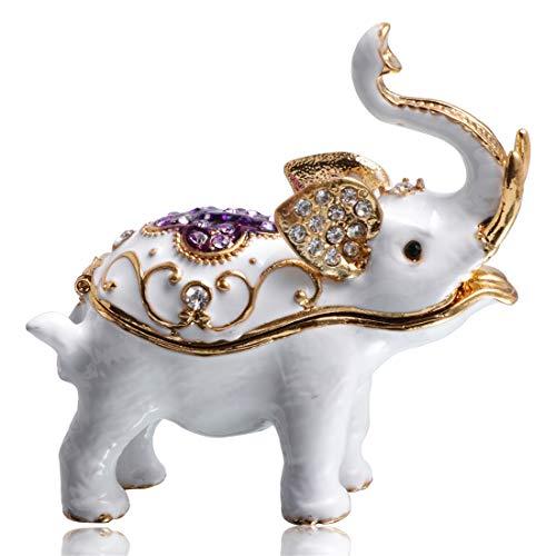 Waltz&F White Elephant Hand-Painted Trinket Box Animal Jewelrybox Figurine Collectible Ring Holder with Gift Box (White Elephant Figurines)