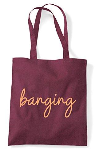 Hashtag Tote Banging Statement Quote Burgundy Shopper Bag 5aqFwSq