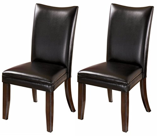 Ashley Furniture Signature Design - Charrell Dining Upholstered Side Chair - Curved Back - Set of 2 - Black (Table Side Upholstered)