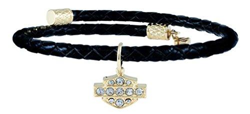 Davidson Harley White Bracelet (Harley-Davidson Womens Bling B&S Braided Leather Bangle Bracelet, Gold HSB0138-7)
