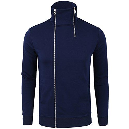 Manwan Walk Men's Cotton Full-Zip Fleece Hoodie Causal Thin Hoodies W141 (X-Large, Navy blue)