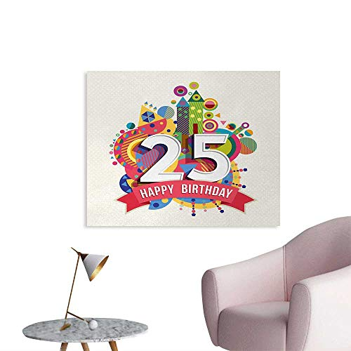 Tudouhoho 25th Birthday Poster Paper Funny Celebration Greeting Card Inspired with Number Text Label Art Print Wallpaper Multicolor W32 -