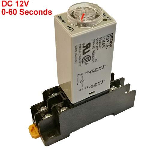 DC 12V Delay Timer Time Relay DPDT 0-60S Second & Base Socket H3Y-2 ()