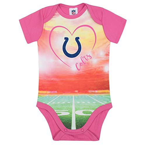 NFL Indianapolis Colts Baby-Girls Short-Sleeve Bodysuit, Pink, 0-3 Months