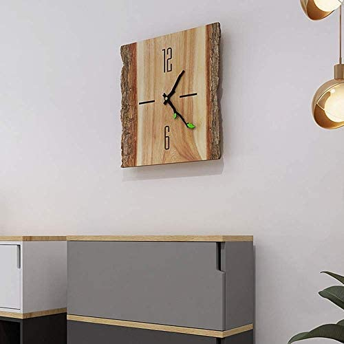 Amazon Com Creative Tree Pattern Wall Clock Simple Modern Design Wooden Clocks For Bedroom Wood Wall Watch Home Decoration Silent Clock Home Kitchen