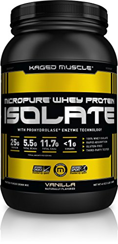 KAGED MUSCLE - MicroPure Whey Protein Isolate, Whey, Vanilla, Whey Protein Powder, Boost Reocovery, Post Workout, Whey Protein Isolate, Vanilla, 3lbs