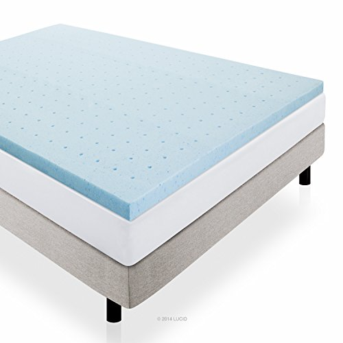 LUCID 2 Inch Gel Infused High Density Ventilated Memory Foam Mattress Topper - 3-Year U.S. Warranty...