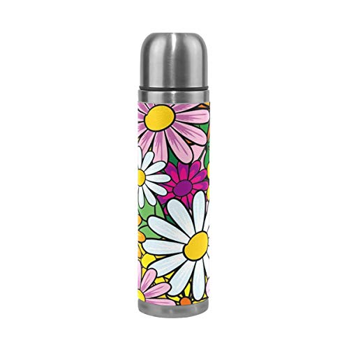 Stainless Steel Vacuum Insulated Water Bottle Colorful Daisy Atr Design Leak Proof Travel Coffee Mug Genuine Leather Cover Keep Drinks Hot and Cold 17 Oz