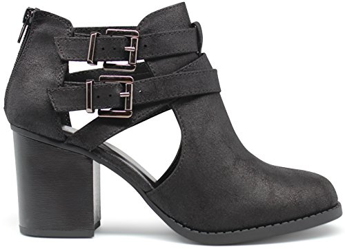 Marco Republic Dublin Medium Mid Heels Ankle Booties Boots - (Vintage Distressed Black) - 11