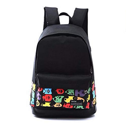 Backpack Canvas Travel Black Women's School Printed P7xzB