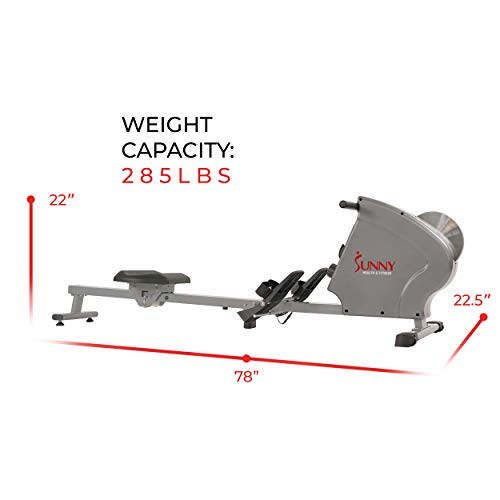Sunny Health & Fitness SF-RW5856 Magnetic Rowing Machine Rower, 11 lb. Flywheel and LCD Monitor with Tablet Holder, Gray by Sunny Health & Fitness (Image #15)