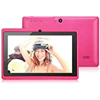 Egmy 7 Inch Touch Allwinner A33 Quad Core Android 4.4 KitKat Tablet PC, 8GB Multimedia, Dual Camera, G-sensor,WIFI, Multilingual,Multi-touch 1024 x 600 HD Screen(Hot Pink )