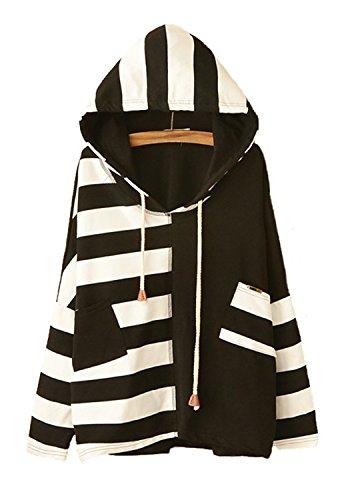 Japanese Fashion Clothing - JUNG KOOK Womens SEN Female Cute Japanese Style Loose Long Sleeve Striped Hooded Sweater Black