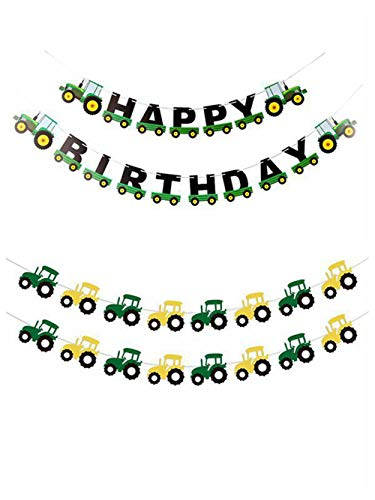 Cieovo Party Green Construction Vehicle Party Garland Banner Set, Tractor Happy Birthday Banner with Farm Tractor Themed Decor for Children Baby Construction Car Party Supplies