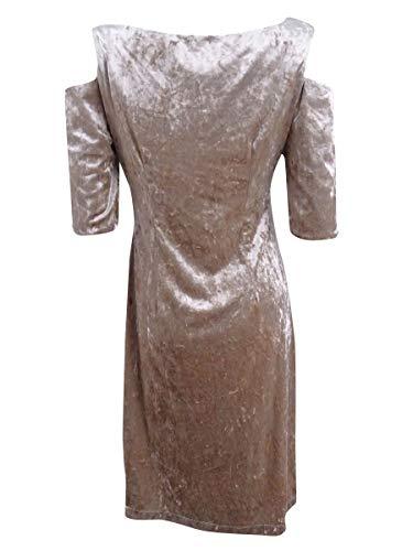 Velours Des Femmes Connectées Robe Froid Épaule De Couleur Taupe