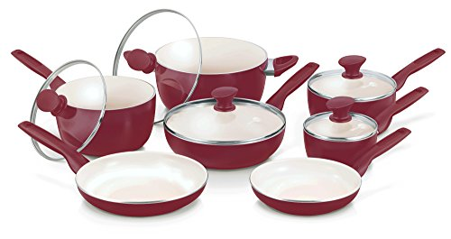 GreenPan Rio 12pc Ceramic Non-Stick Cookware Set, Burgundy