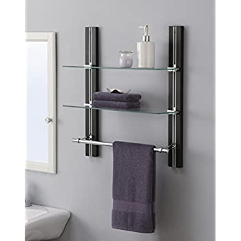 Organize It All Wall Mount 2 Tier Bathroom Glass Shelf with Towel Bar