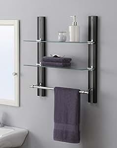 Organize it all mounted 2 tier adjustable - 2 tier bathroom shelf with towel bar ...