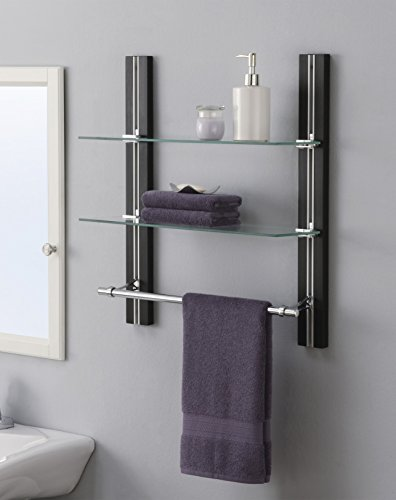 Two Glass Shelves - Organize It All Wall Mount 2 Tier Bathroom Glass Shelf with Towel Bar