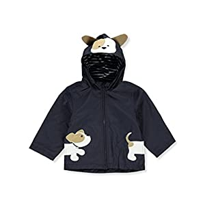 London Fog Baby Boys Little Animal Rainslicker Rain Jacket, Navy Puppy, 12M