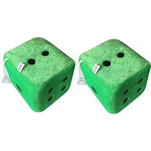 - Auxsoul 2 Pack Fuzzy Dice Dots Car Pendant Charms Plush Rear View Mirror Hanger Decoration Car Styling Accessorie(Green)