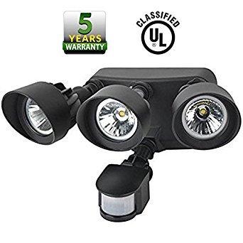 Ul Listed para exteriores con sensor de movimiento foco LED de seguridad cabeza de tres *