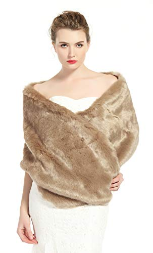 Faux Silk Jacket - BEAUTELICATE Women's Faux Fur Shawl Stoles Wrap for Bridal/Wedding/Party-S62(12 Colors) (Khaki, 67