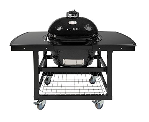 Primo Oval LG 300 Ceramic Smoker Grill On Cart with 2-Piece Island Top by Primo