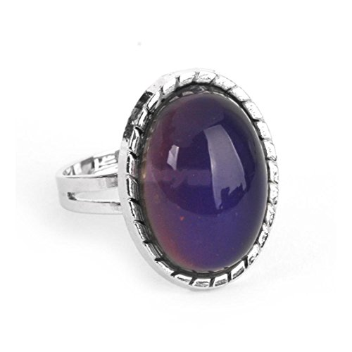 Vintage Retro 70s Oval Mood Ring Color Changeable Emotion Feeling Adjustable
