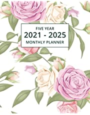 2021-2025 Five Year Monthly Planner: 60 Month Calendar and Organizer | Floral Edition