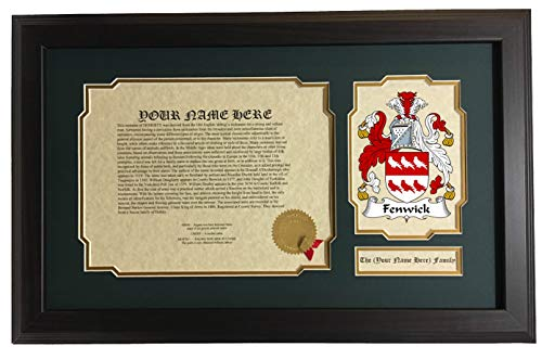 (Fenwick - Coat of Arms and Last Name History, 14x22 Inches Matted and Framed)