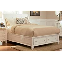 Coaster Furniture 201309Q Sandy Beach Queen Sleigh Bed in White with Footboard S