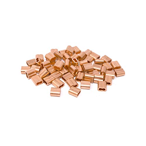 Copper Swage Sleeve - SwageRight MIL-SPEC Copper Swage Sleeves Clip & Ferrules (1/32 inch) - Oval Duplex Wire Rope Cable Crimping Loop Fittings (Pack of 500)