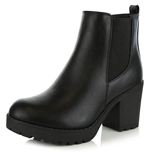 DailyShoes Women's Ankle Chelsea Elastic Panel Chunky Heel Boots Chunk High Block Biker Night Club Booties Fashion - Side West Platform Leather