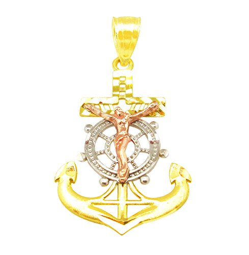 AMZ Jewelry 10K Tri Tone Gold Mariners Anchor Charm Cross Pendant