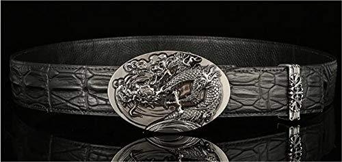 De Loisir Cuir Crocodile Ceinture Zkpmjh Pour Silvery Homme Boucle Motif En Lisse Dermique Ceintures PAq44wv