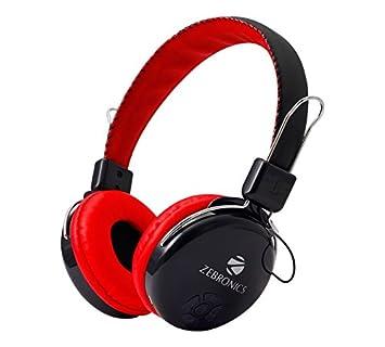 Zebronics Zeb RAGA Bluetooth Headset Headphone Wireless Over Ear Music with Mic  Red  Headphones