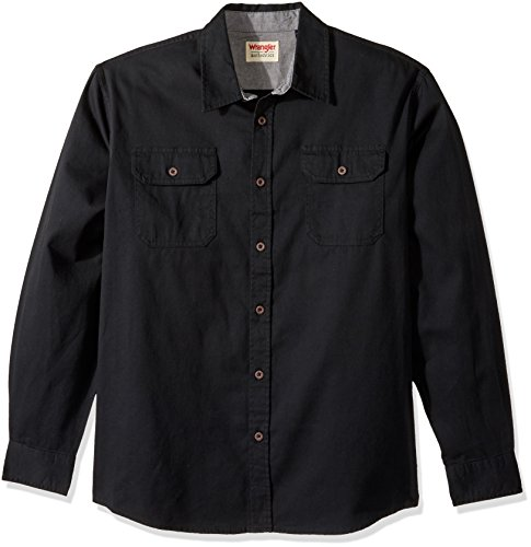 Wrangler Authentics Men's Authentics Long Sleeve Classic Woven Shirt, Black Denim, ()