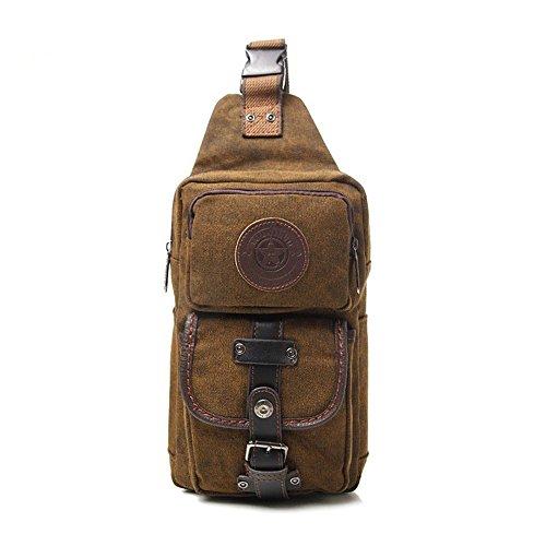 Lampo Sunbobo Bag Telo Casuale Sacchetto Marrone Messenger Della Chiusura Uomini Petto pqgIWqBrZ
